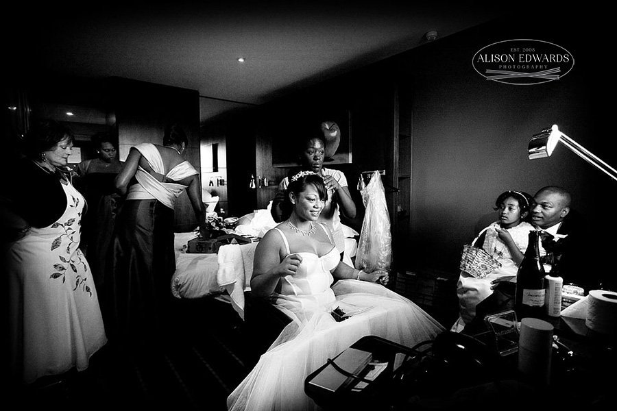 bride getting ready for her wedding at the Goosedale Nottingham