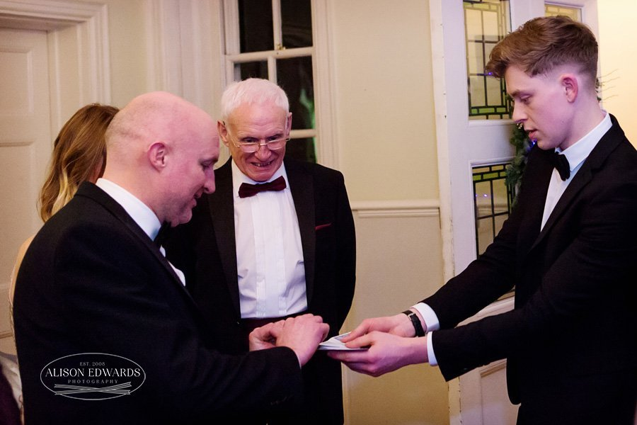 bride and groom with magician