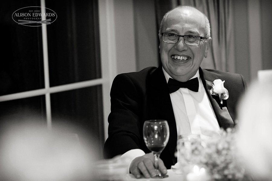 father of the bride during wedding speeches