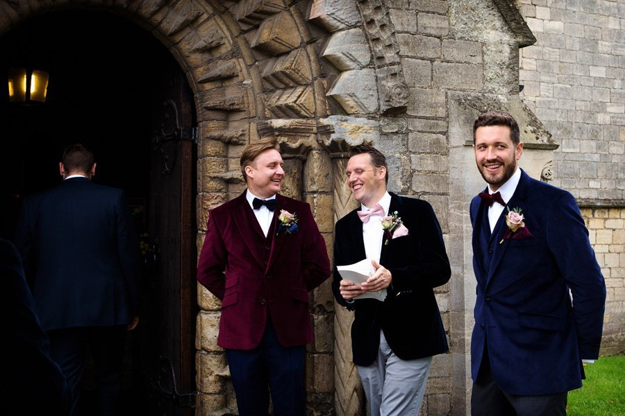 groom and groomsmen at church