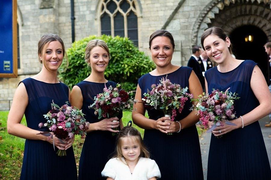 bridesmaids at church waiting for bride