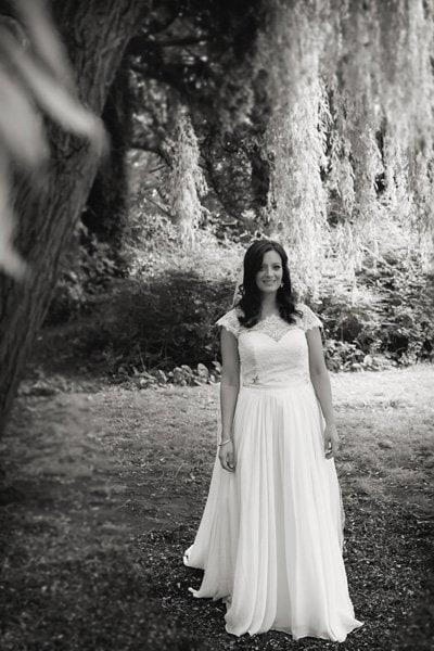 bride's portrait under willowy tree at Newark Town & District Club