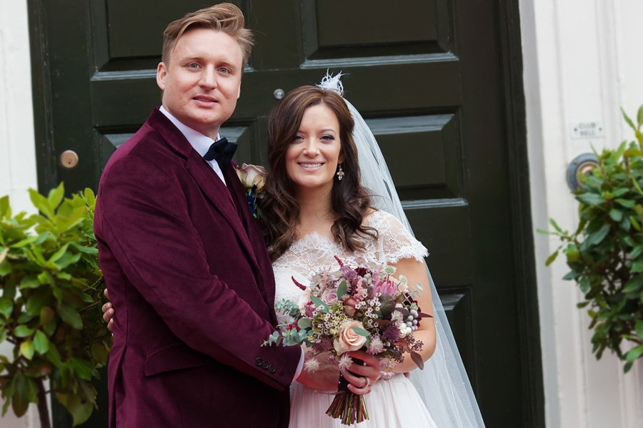 bride and groom portrait in Newark town centre