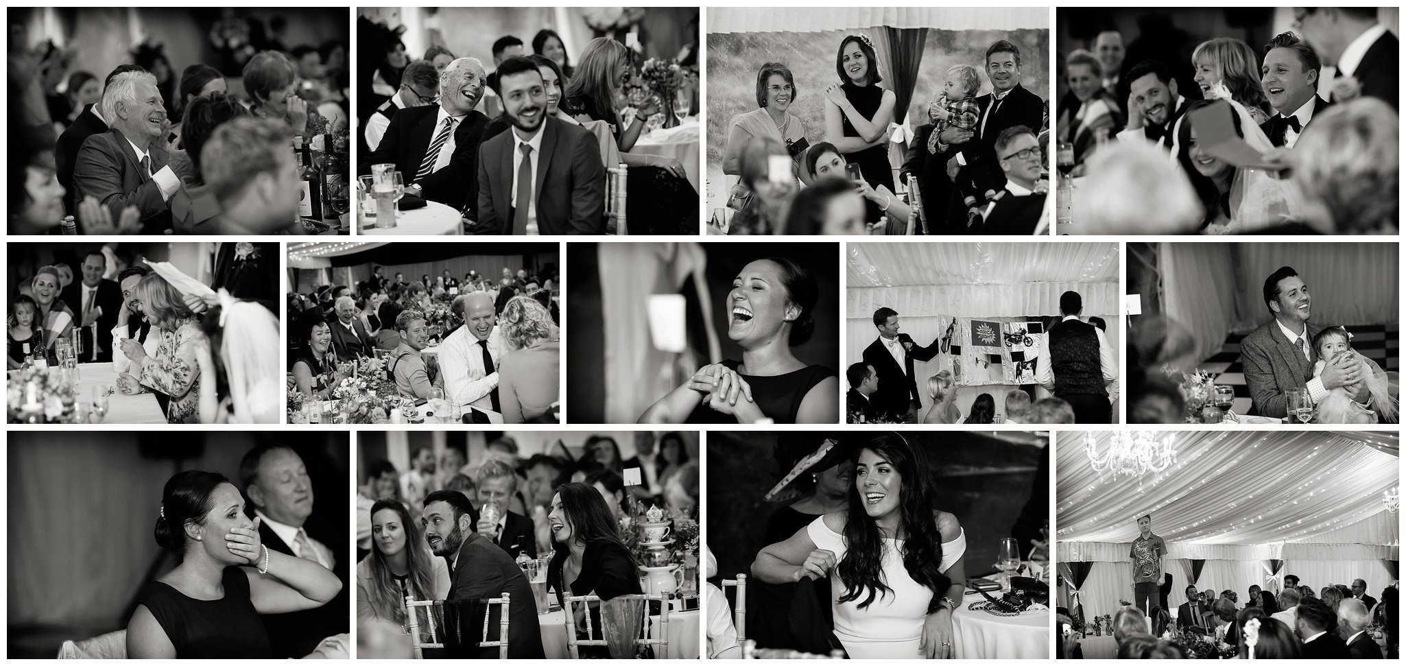 collage of photos during wedding speeches