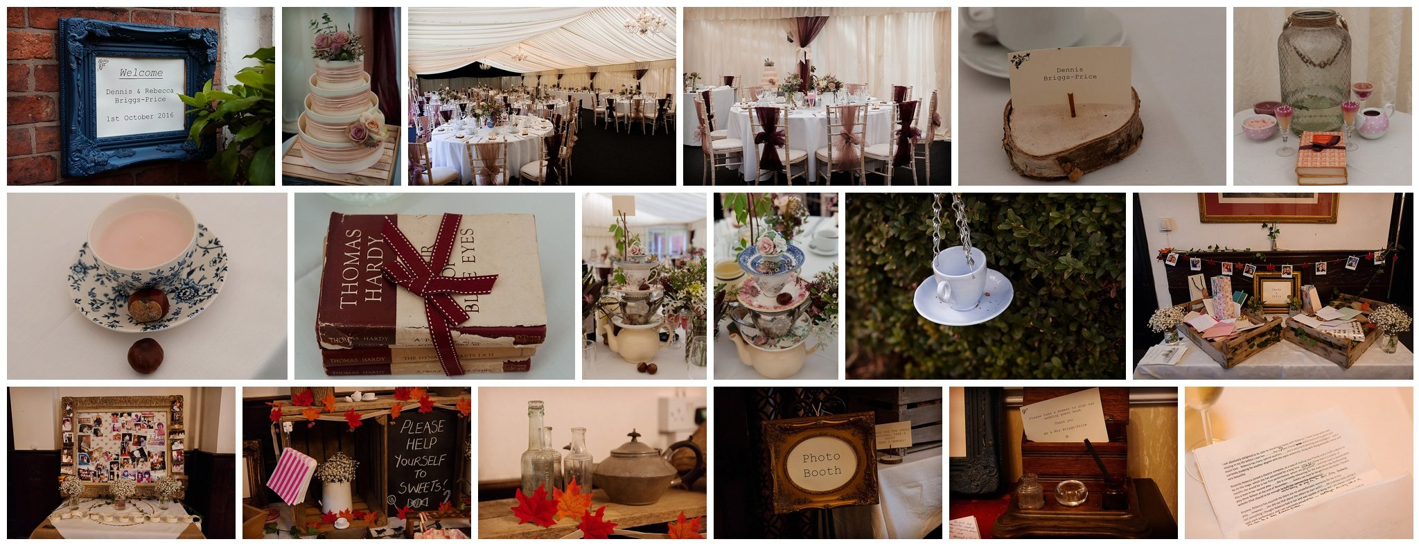 collage of wedding details at Newark Town & District Club
