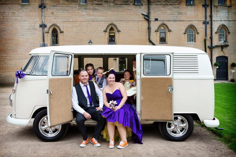 bride groom and children in VW camper van at Newstead Abbey