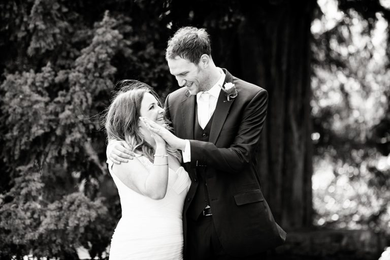 bride and groom at Nuthall Church