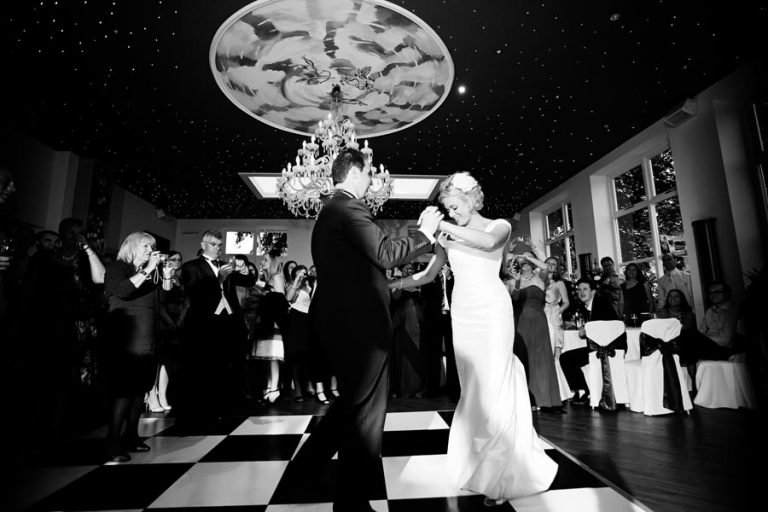 bride and groom's first dance at Shuttle Hall
