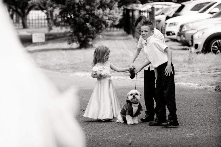 children with dog at wedding at Kelham House