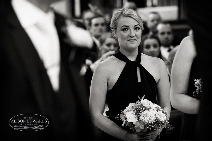 bridesmaid smiling in church