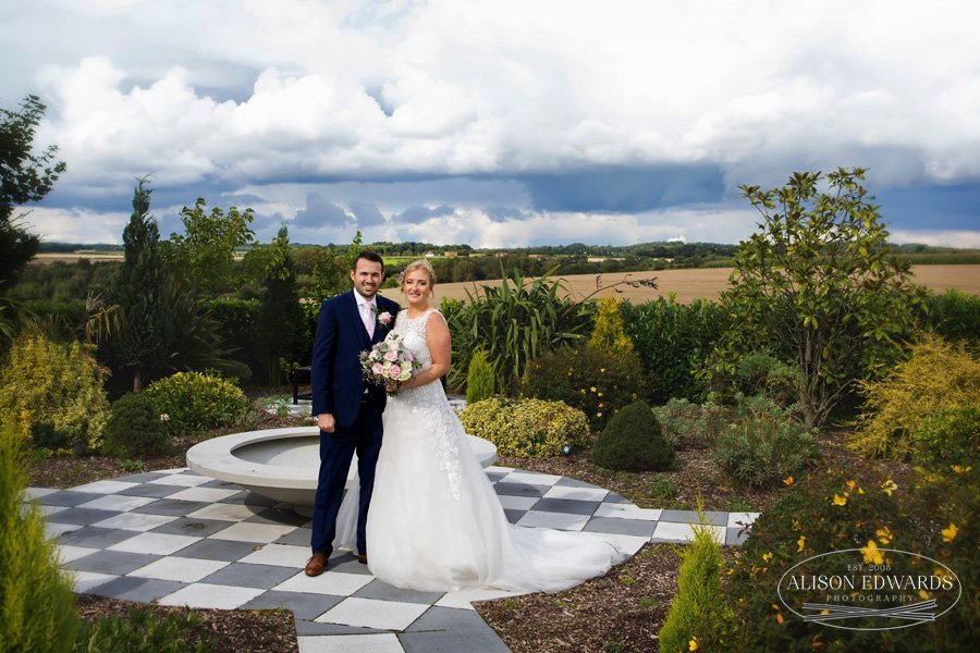 bride and groom in beautiful setting at Goosedale