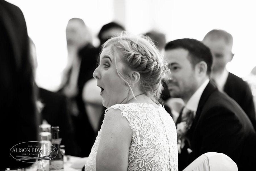 bride looking shocked at goosedale