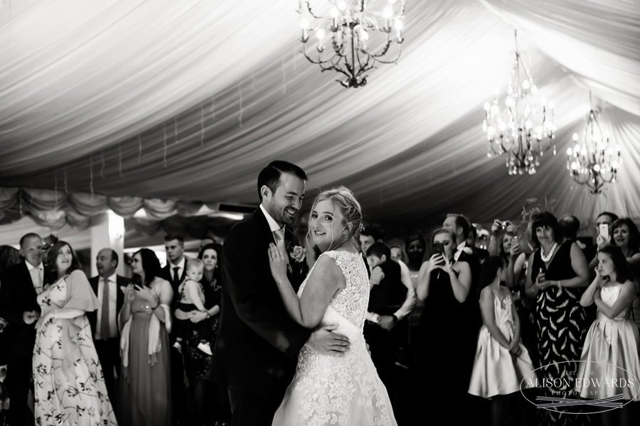 bride and groom's first dance at Goosedale