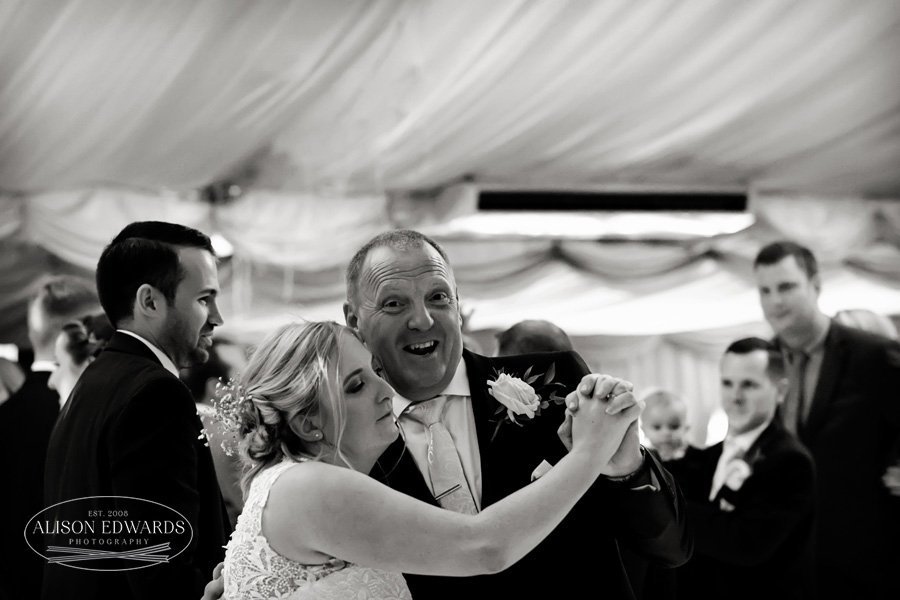 bride and father dancing at Goosedale