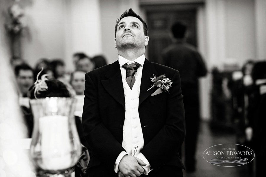nervous groom waiting for bride at Colwick Hall