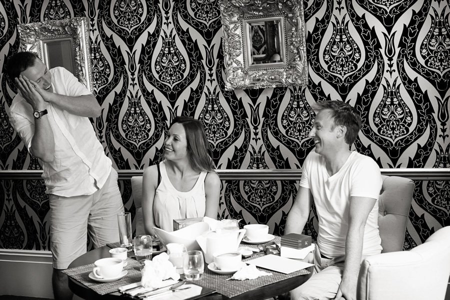 bride and groom with guests at breakfast