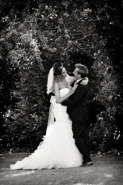bride and groom at boutique hotel wedding