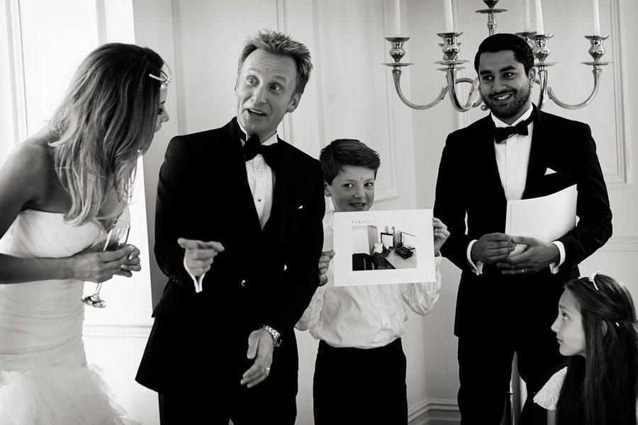 surprised groom at wedding speeches