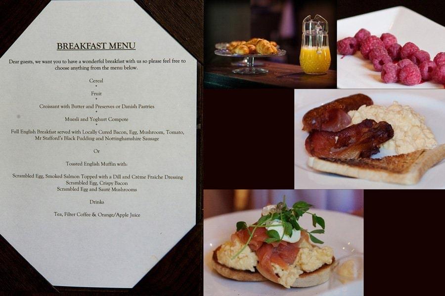 wedding breakfast menu and food photos