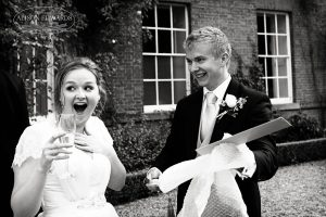 Surprised bride at Norwood Park Nottingham