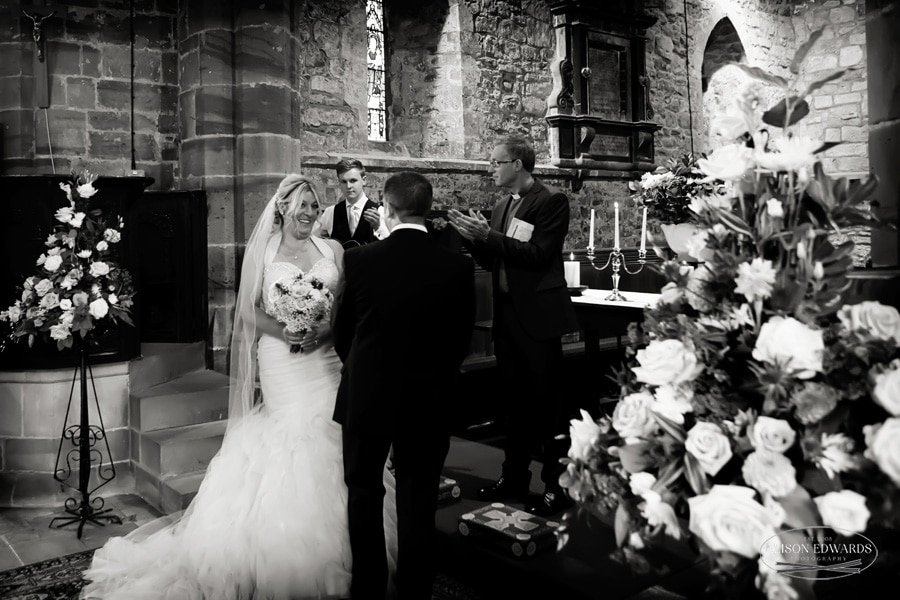 bride and groom at weston on trent church